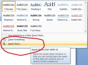 Microsoft Word 2007 Annoying Hidden Sub Headings